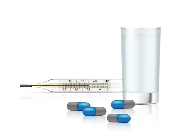 Realistische capsules pillen geneeskunde met waterglas en thermometer