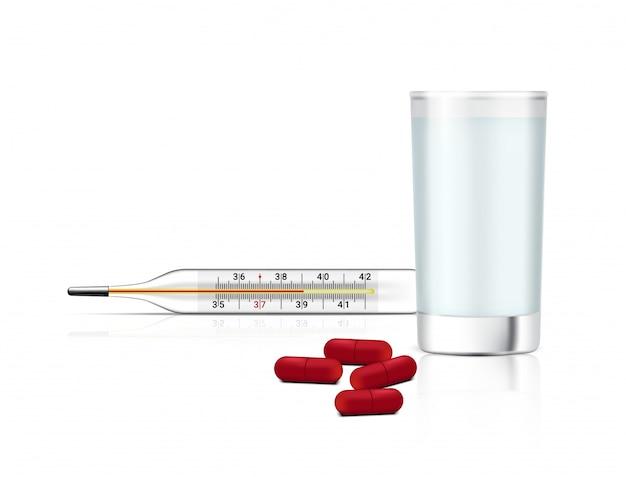Realistische capsules pillen geneeskunde op wit met waterglas en thermometer voor koorts controle. ziekenhuis tool. tabletten medisch en gezondheid.