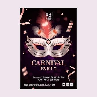 Realistische carnaval masker van venetië en confetti partij poster