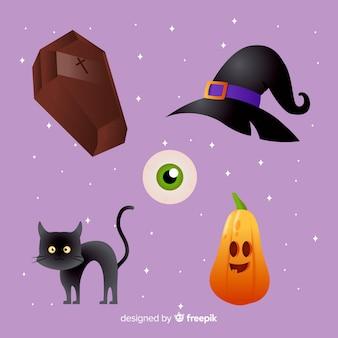 Realistische cartoon halloween elementenverzameling
