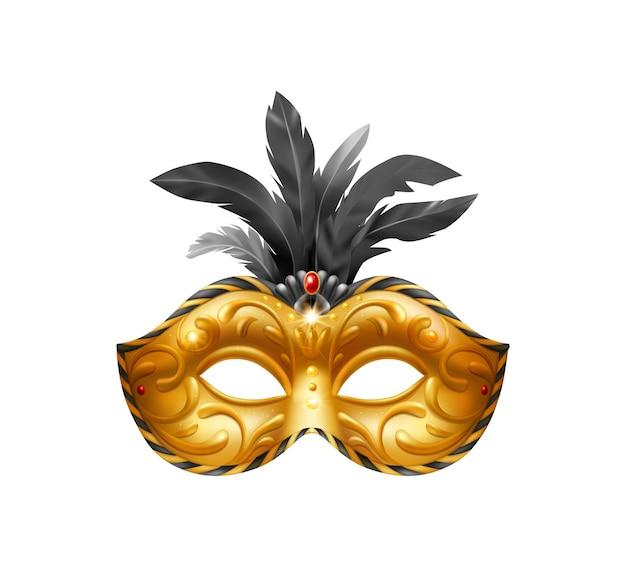 Realistische carvinale maskersamenstelling met geïsoleerde illustratie van gouden maskerademasker met zwarte veren