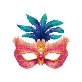 Realistische carvinale maskersamenstelling met geïsoleerde illustratie van maskerademasker met blauwe veren en paars lichaam
