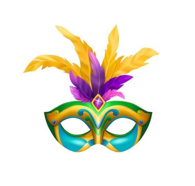 Realistische carvinale maskersamenstelling met geïsoleerde illustratie van maskerademasker met felle kleuren en veren
