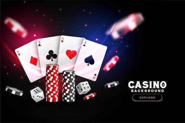 Realistische casino achtergrond met kaarten, chips en dobbelstenen