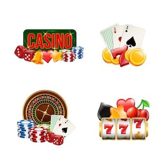 Realistische casino gok badges ingesteld