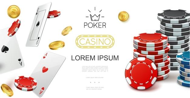 Realistische casino kleurrijke samenstelling met vliegende speelkaarten pokerfiches en gouden munten illustratie