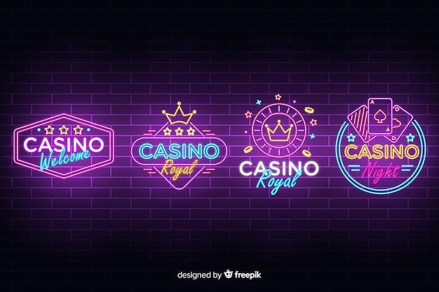 Realistische casino neon teken collectie