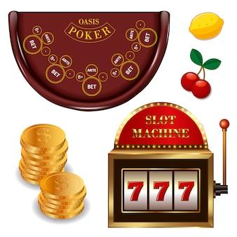 Realistische casino online games set met gouden munten pokertafel gokautomaat cherry lemon geïsoleerd