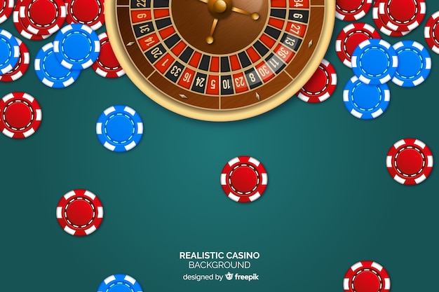 Realistische casino roulette achtergrond met chips