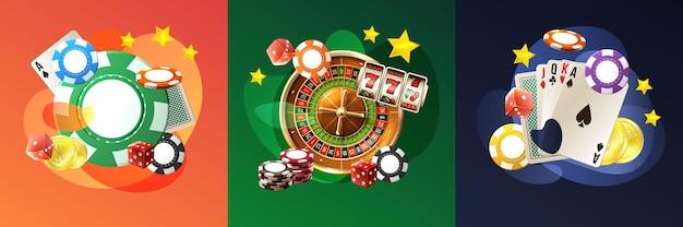 Realistische casino set illustratie