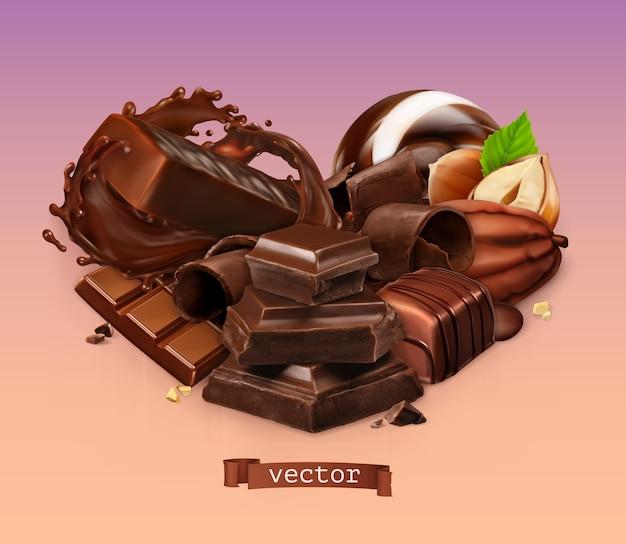 Realistische chocolade. chocoladereep, plons, snoep, stukjes, krullen, cacaoboon en hazelnoot.