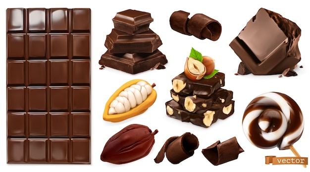 Realistische chocolade. chocoladereep, snoep, stukjes, krullen, cacaobonen en hazelnoten.