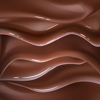 Realistische chocolade vloeibare golf achtergrond