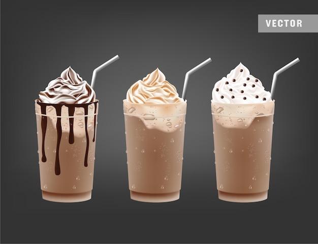 Realistische chocolademilkshakes met ijs
