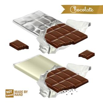 Realistische chocoladereep met bijt verpakt in folie en de plastic hoes. gebeten chocoladestukjes.