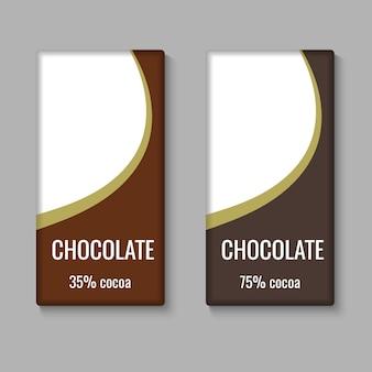 Realistische chocoladereep pakket sjabloon