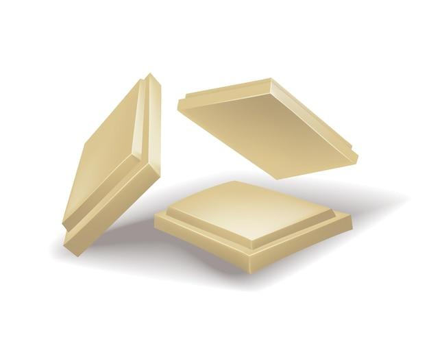 Realistische chocoladestukjes witte chocolade. stuk cacaodessert of vierkant chocoladesuikergoed. voedsel zoete snack geïsoleerd op een witte achtergrond
