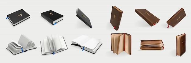 Realistische christelijke heilige bijbel set collectie