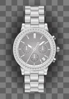 Realistische chronograaf horloge zilveren diamant op geruit.