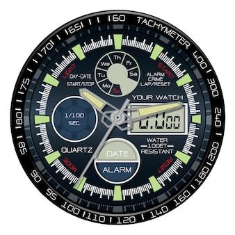 Realistische chronograaf wijzerplaat witte achtergrond.