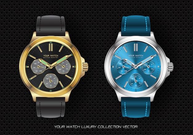 Realistische chronograafcollectie met klokhorloge