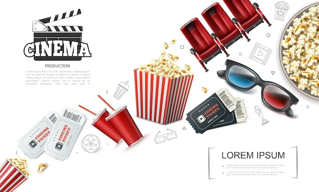 Realistische cinematografie elementen samenstelling met kaartjes frisdrank popcorn 3d bril filmklapper