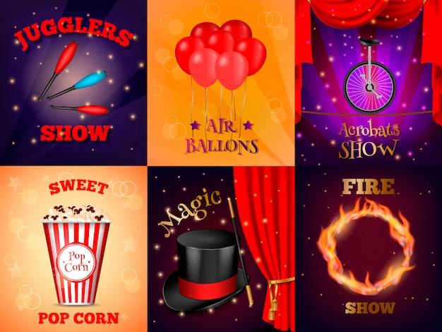 Realistische circus kaarten set