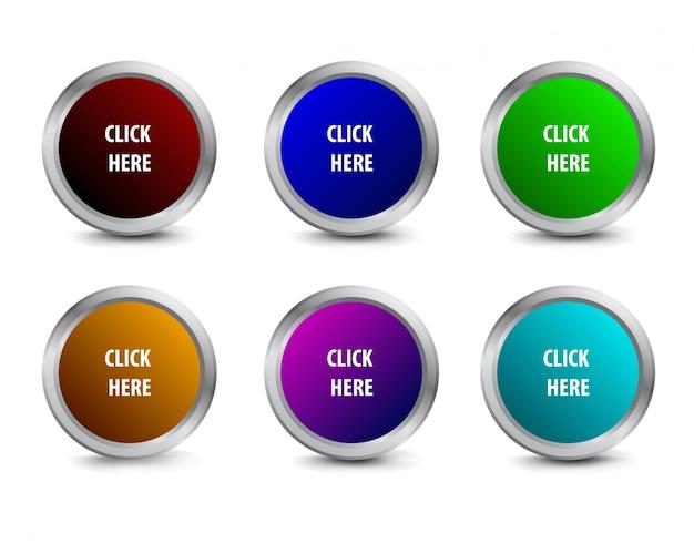 Realistische cirkel klik hier metalen webknop