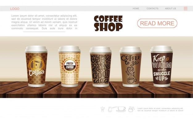 Realistische coffeeshop webpagina-sjabloon met papier en plastic kopjes warme drank op houten aanrecht