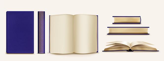 Realistische collectie boeken en ruggen