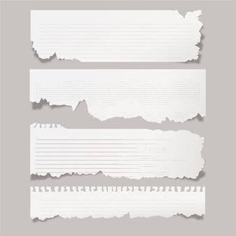 Realistische collectie gescheurd papier