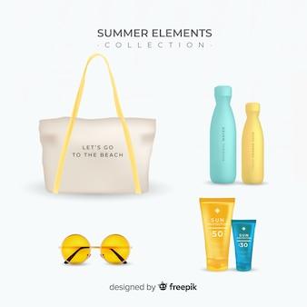 Realistische collectie zomerelementen