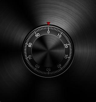 Realistische combinatie metalen veilige vergrendeling of geluidsvolumeknop op radiaal gepolijst zwart metaal