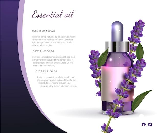 Realistische commerciële sjabloon van lavendel etherische olie