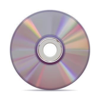 Realistische compact disc op witte achtergrond.