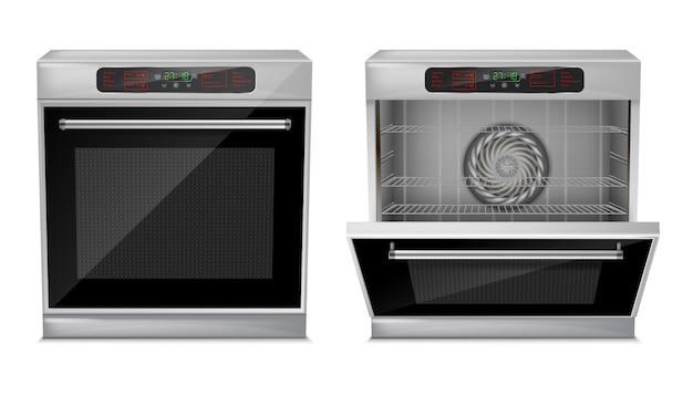 Realistische compacte oven met touch-menu, met vooraf ingestelde kookprogramma's