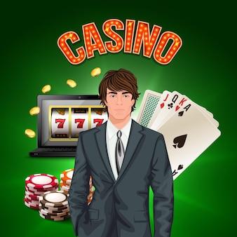 Realistische compositie van casinospeler met stijlvolle man in een pak op de voorgrond en spelattributen vectorillustratie