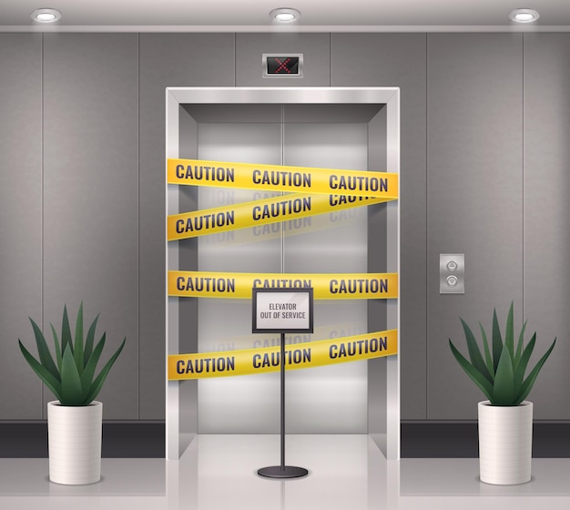 Realistische compositie van de liftdeur met zicht op de ingang van de lift met voorzichtige barrièrelijnen