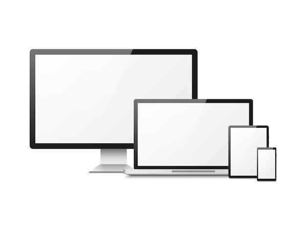 Realistische computer. apparaten laptop tablet telefoon smartphone monitor, computer desktopscherm, responsieve weblay-out