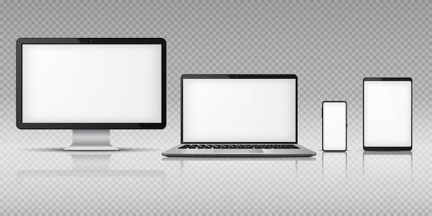 Realistische computer laptop smartphone. tabletgadget, pc-laptop mobiele apparaten. beeldschermsjabloon monitor