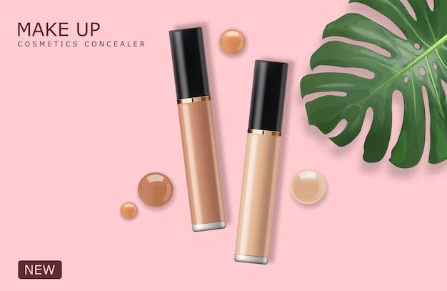 Realistische concealerfles, make-upcosmetica, concealer van corrigerende gezichtshuid, verpakking mockup set illustratie