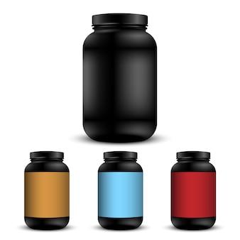 Realistische containers voor sportvoeding