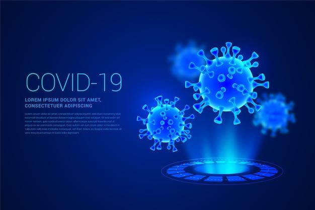 Realistische coronavirus hologram achtergrond