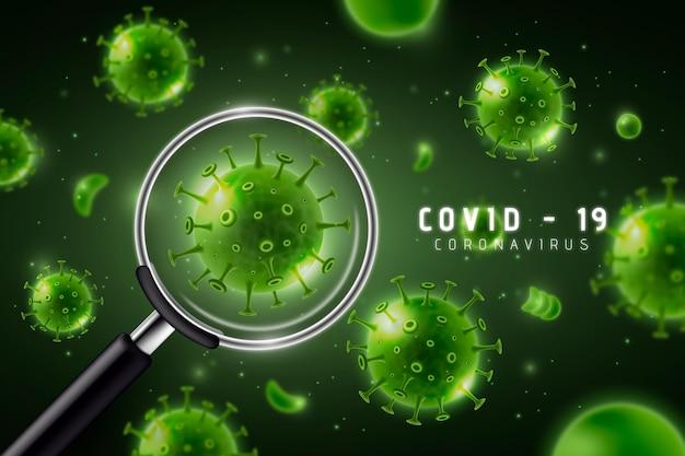 Realistische coronaviruscel kijkt door een vergrootglasachtergrond