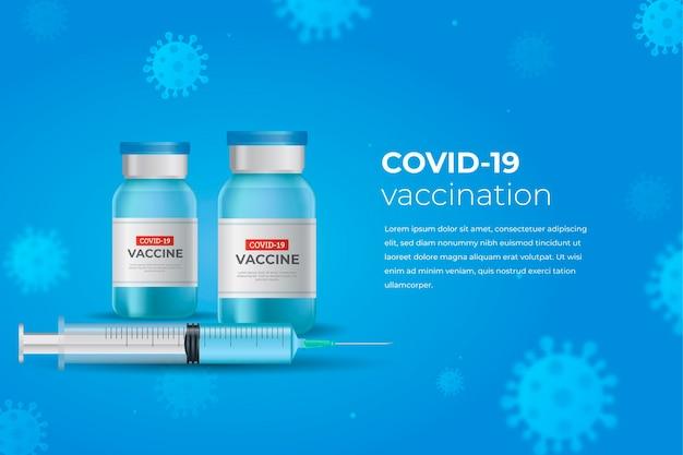 Realistische coronavirusvaccinachtergrond met flessen en spuit