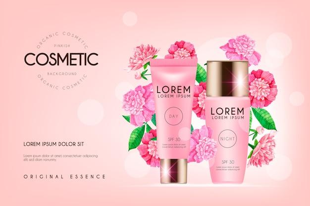 Realistische cosmetische achtergrond met schoonheidsproducten