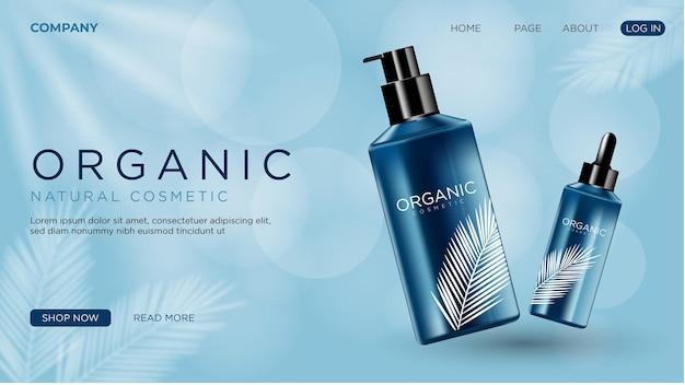 Realistische cosmetische advertentie met website-bestemmingspagina