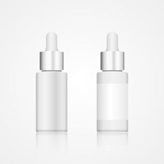Realistische cosmetische fles van wit glas