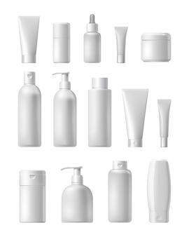 Realistische cosmetische merk mockup set