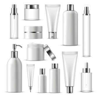 Realistische cosmetische pakket icon set